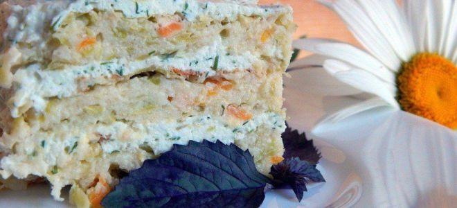 Торт из кабачка с творогом и кунжутом
