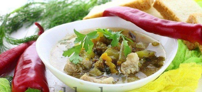 Суп с баклажанами и кабачками и плавленым сыром