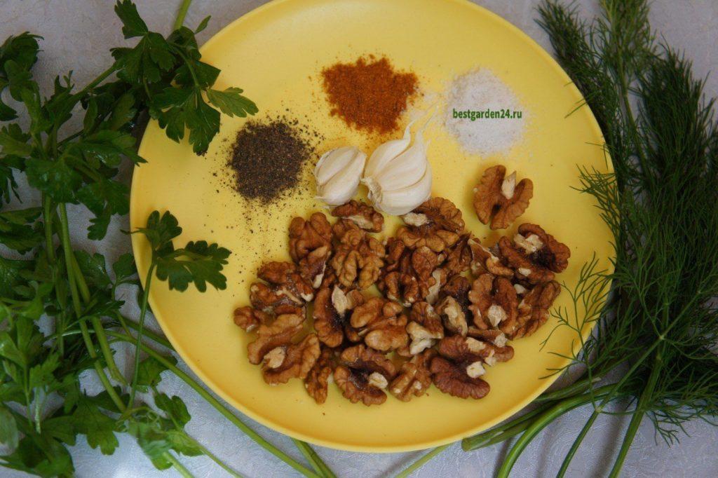 Грецкий орех для закуски из кабачков