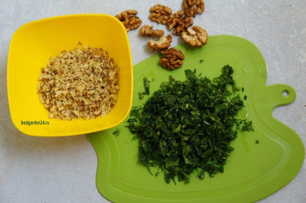 Грецкий орех и зелень