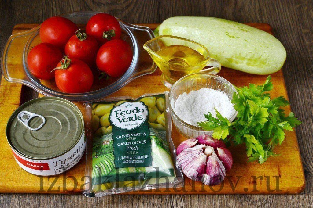 Ингредиенты для салата из кабачков и тунца