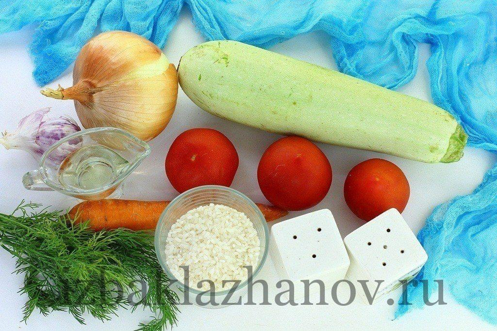 Кабачок, помидоры и рис для рагу
