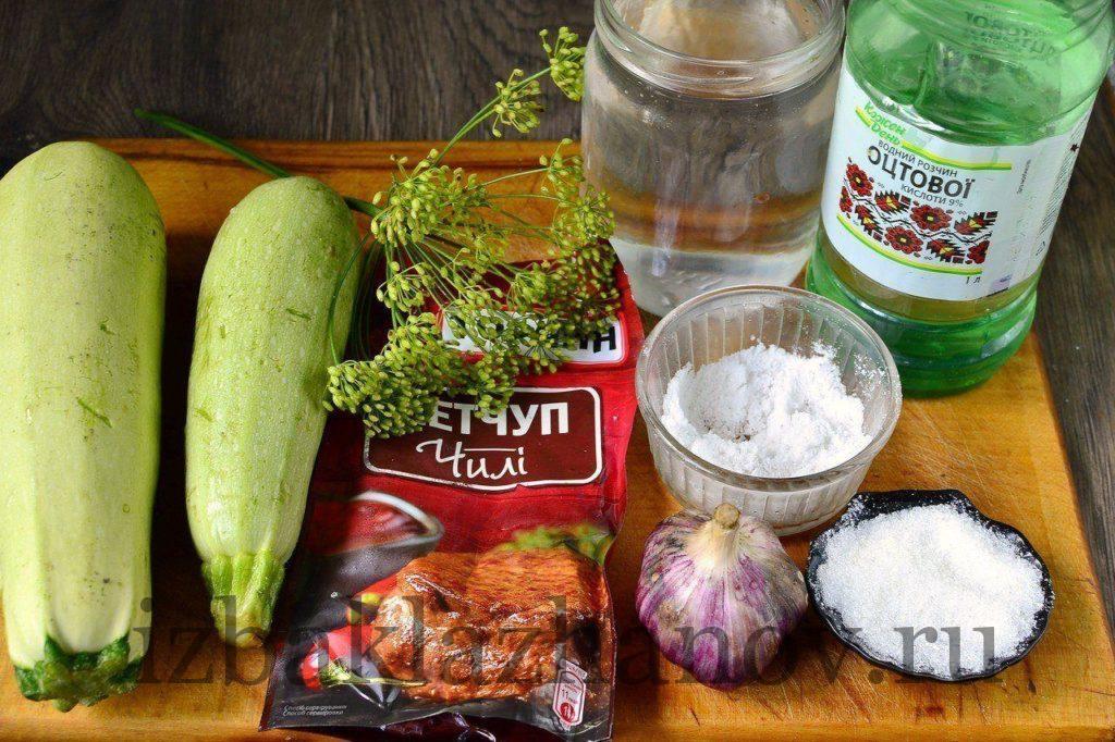 Ингредиенты для кабачков с кетчупом чили