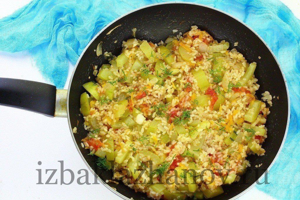Рагу из кабачков с рисом готово