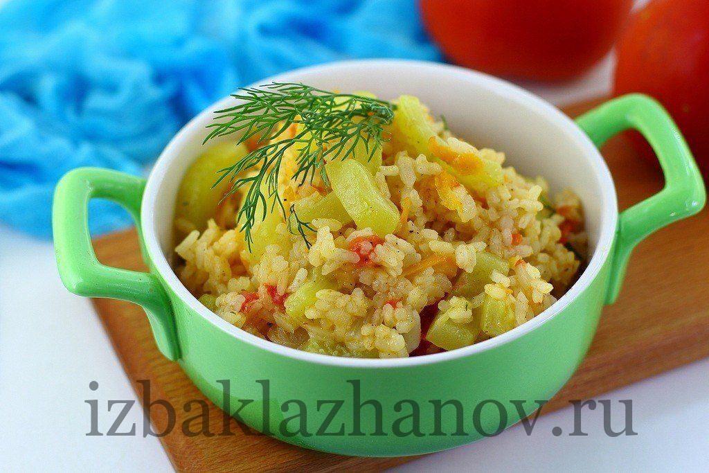 Овощи, кабачок и рис - вкусное рагу