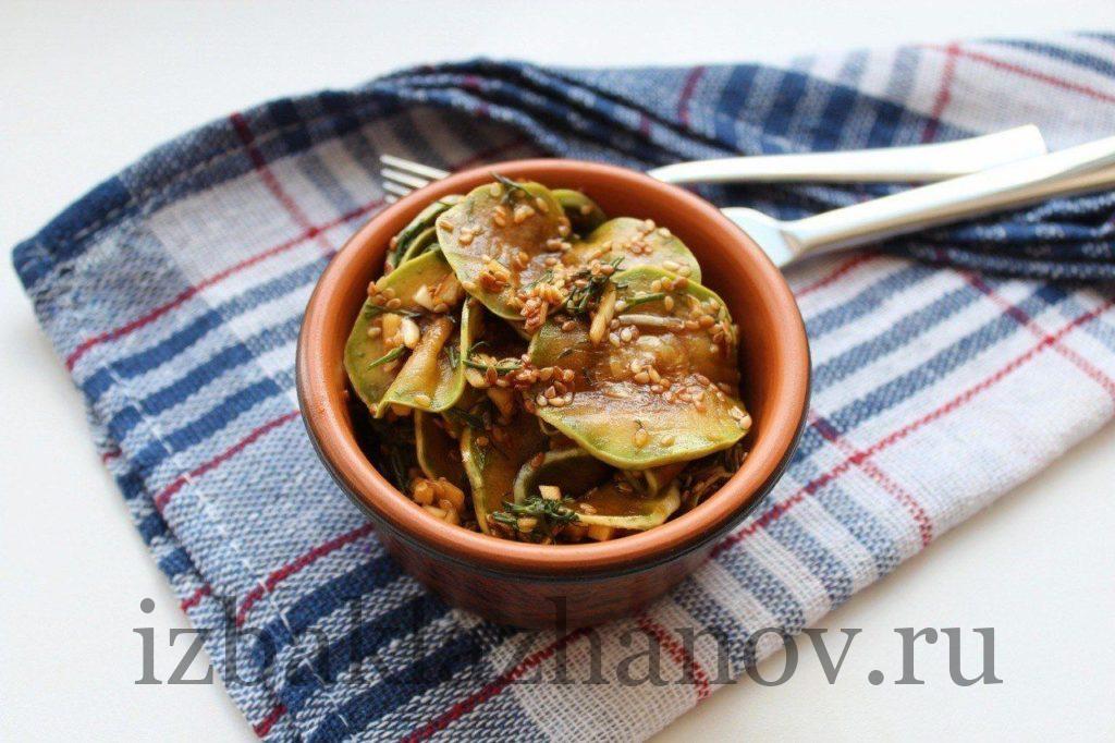 Закуска из кабачков по-корейски быстрого приготовления