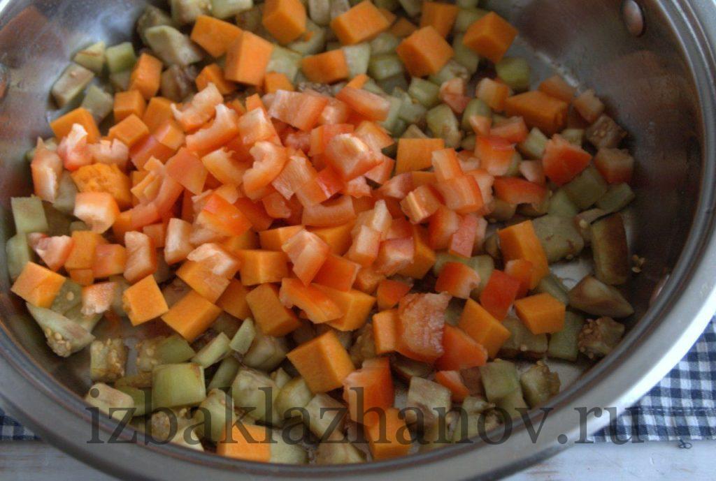 Перец, баклажаны и тыква в сотейнике