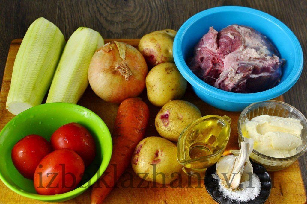 Ингредиенты для блюда кабачки со свининой